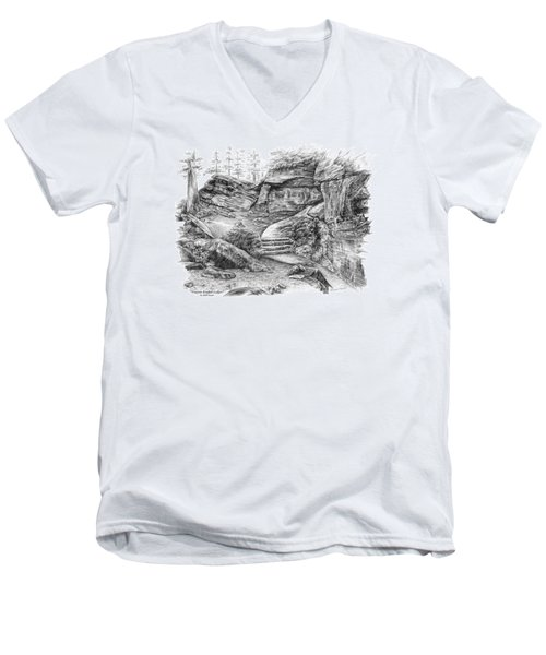 Men's V-Neck T-Shirt featuring the drawing Virginia Kendall Ledges - Cuyahoga Valley National Park by Kelli Swan