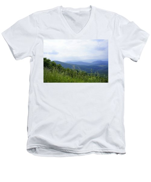 Men's V-Neck T-Shirt featuring the photograph Virginia Mountains by Laurie Perry