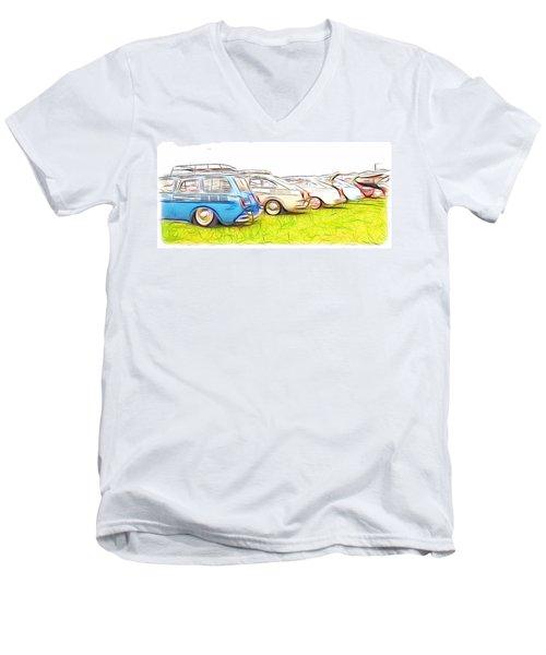 Vw Squareback Art Men's V-Neck T-Shirt