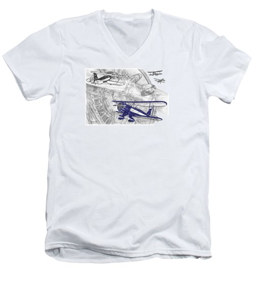 Waco Ymf - Vintage Biplane Aviation Art With Color Men's V-Neck T-Shirt