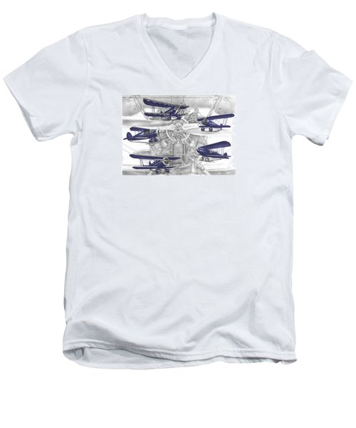 Wacos - Vintage Biplane Aviation Art With Color Men's V-Neck T-Shirt