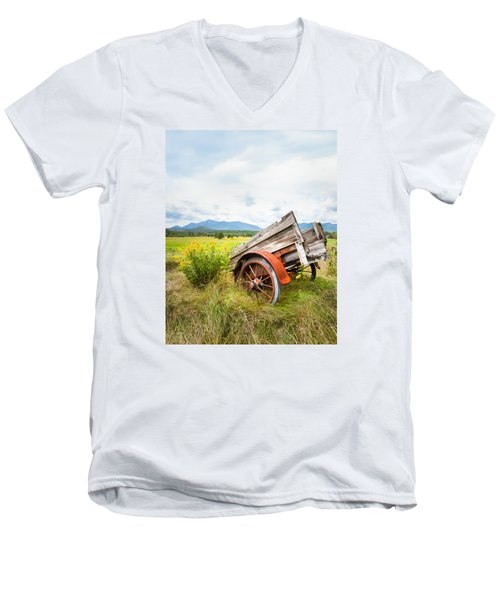 Men's V-Neck T-Shirt featuring the photograph Wagon And Wildflowers - Vertical Composition by Gary Heller