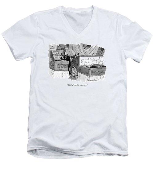 Wait! First Men's V-Neck T-Shirt