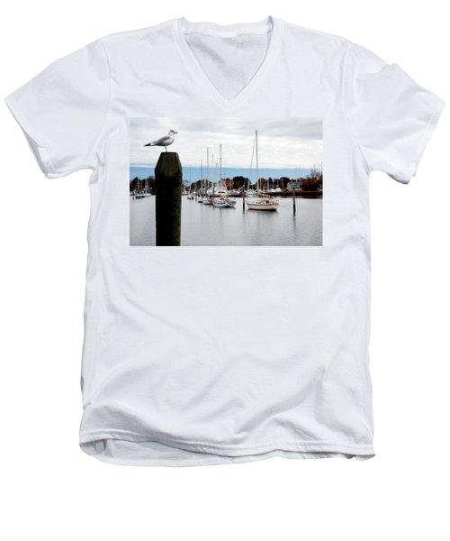 Waiting For Sandy Men's V-Neck T-Shirt by Lon Casler Bixby