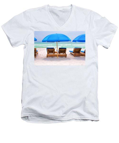 Panama City Beach Digital Painting Men's V-Neck T-Shirt by Vizual Studio