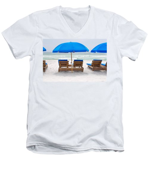 Panama City Beach Florida Empty Chairs Men's V-Neck T-Shirt