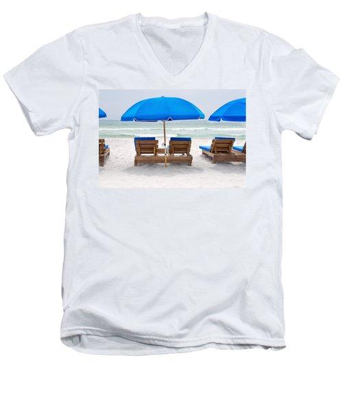 Panama City Beach Florida Empty Chairs Men's V-Neck T-Shirt by Vizual Studio