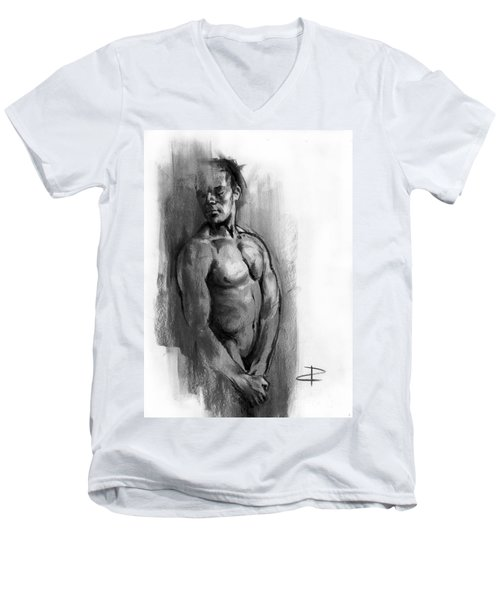 Men's V-Neck T-Shirt featuring the drawing Waiting by Paul Davenport