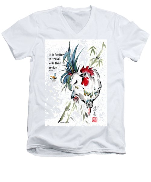 Men's V-Neck T-Shirt featuring the painting Walkabout With Buddha Quote I by Bill Searle
