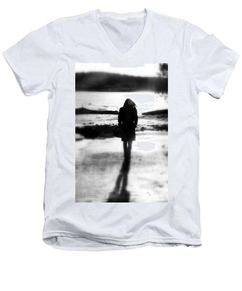 Walking Alone Men's V-Neck T-Shirt by Valentino Visentini