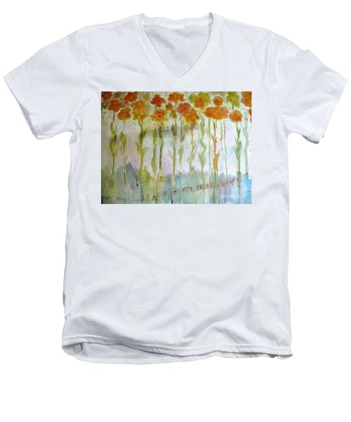 Men's V-Neck T-Shirt featuring the painting Waltz Of The Flowers by Sandy McIntire