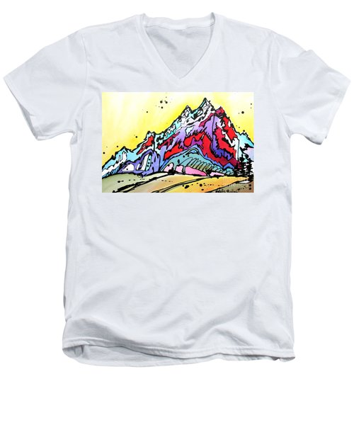 Men's V-Neck T-Shirt featuring the painting Waning Seasons In The Tetons by Nicole Gaitan