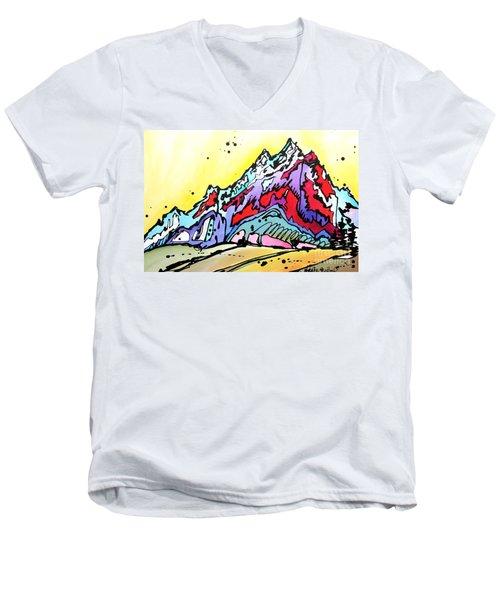 Waning Seasons In The Tetons Men's V-Neck T-Shirt by Nicole Gaitan