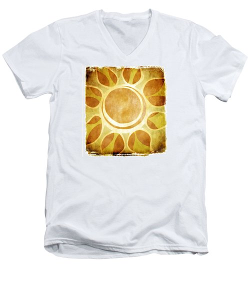 Men's V-Neck T-Shirt featuring the drawing Warm Sunny Flower by Lenny Carter