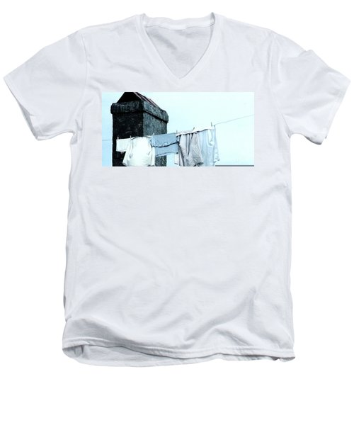 Men's V-Neck T-Shirt featuring the photograph Wash Day Blues In New Orleans Louisiana by Michael Hoard