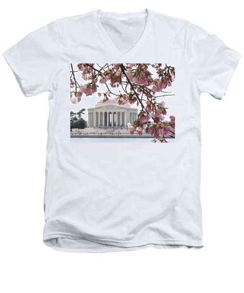 Men's V-Neck T-Shirt featuring the photograph Washington Dc In Bloom by Jennifer Wheatley Wolf
