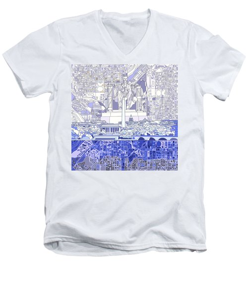 Washington Dc Skyline Abstract 3 Men's V-Neck T-Shirt