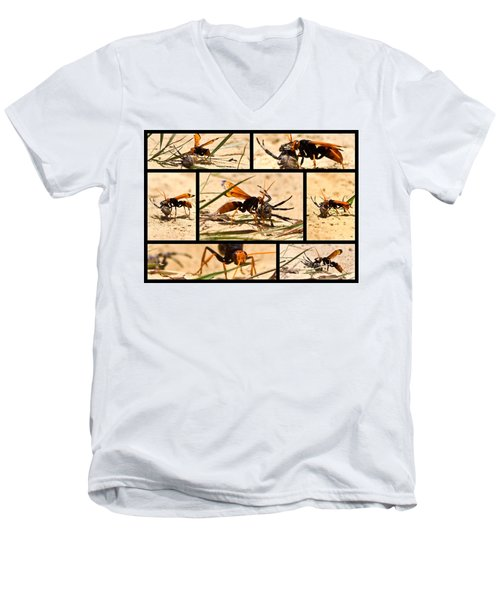 Men's V-Neck T-Shirt featuring the photograph Wasp And His Kill by Miroslava Jurcik