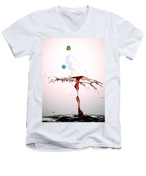 Water Droplets Collision Liquid Art 11 Men's V-Neck T-Shirt