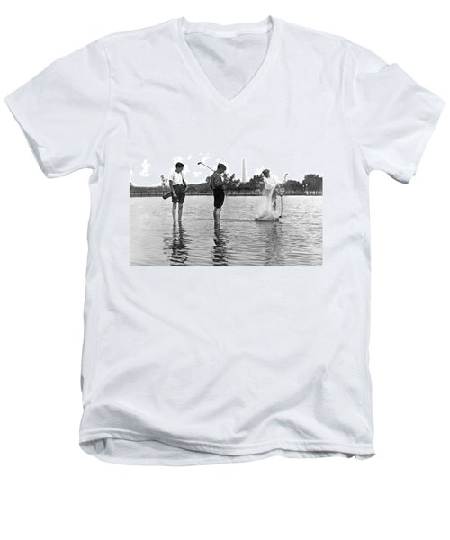 Water Hazard On Golf Course Men's V-Neck T-Shirt