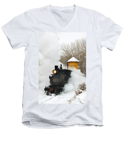 Water Tower Behind The Steam Men's V-Neck T-Shirt