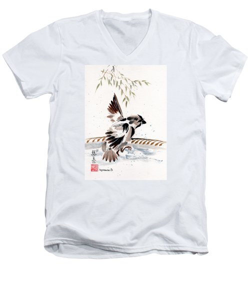 Men's V-Neck T-Shirt featuring the painting Water Wings by Bill Searle