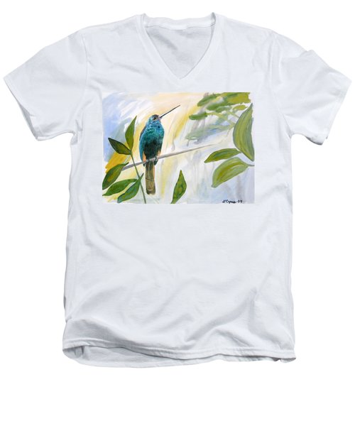Watercolor - Jacamar In The Rainforest Men's V-Neck T-Shirt