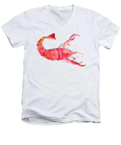 Watercolor Illustration Of Lobster Men's V-Neck T-Shirt