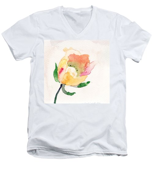 Watercolor Illustration With Beautiful Flower  Men's V-Neck T-Shirt