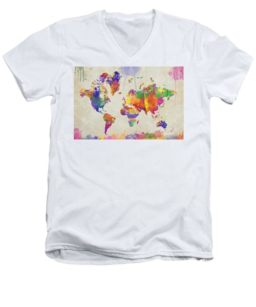 Watercolor Impression World Map Men's V-Neck T-Shirt