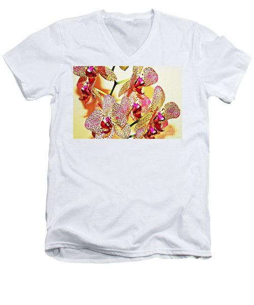 Men's V-Neck T-Shirt featuring the photograph Watercolor Orchid Shadows by Judy Palkimas
