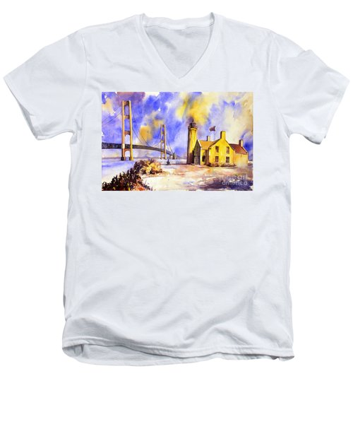 Watercolor Painting Of Ligthouse On Mackinaw Island- Michigan Men's V-Neck T-Shirt