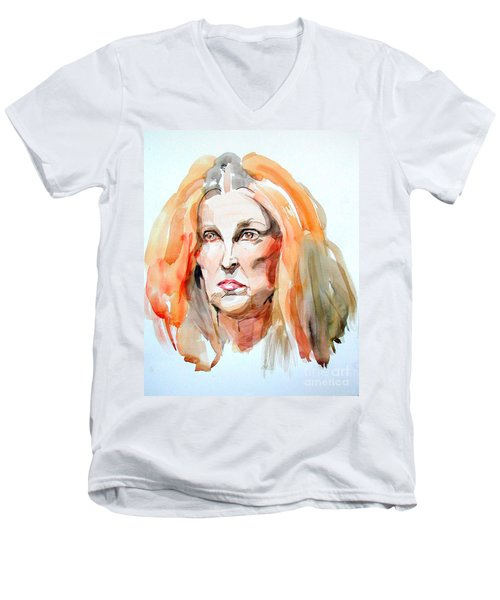 Men's V-Neck T-Shirt featuring the painting Watercolor Portrait Of A Mad Redhead by Greta Corens