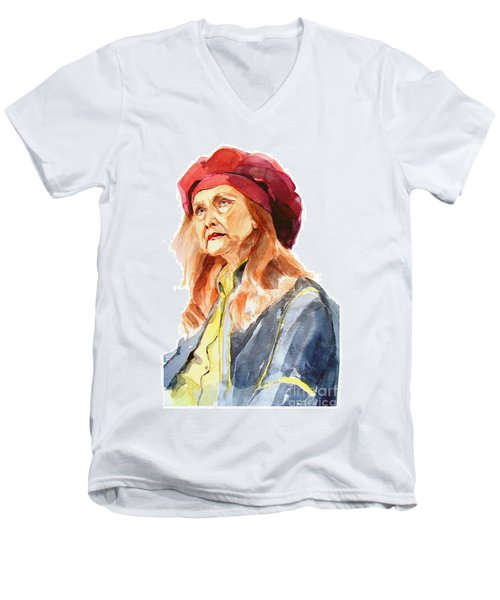 Men's V-Neck T-Shirt featuring the painting Watercolor Portrait Of An Old Lady by Greta Corens