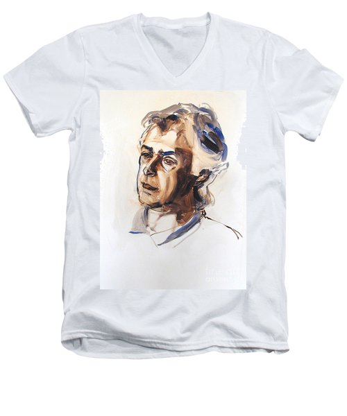 Men's V-Neck T-Shirt featuring the painting Watercolor Portrait Sketch Of A Man In Monochrome by Greta Corens