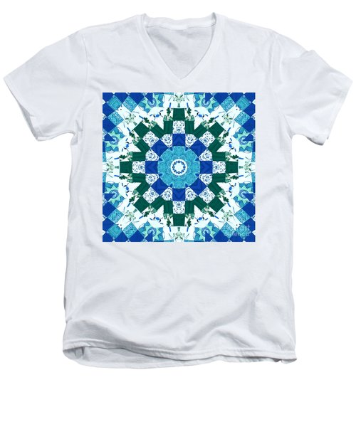 Watercolor Quilt Men's V-Neck T-Shirt by Barbara Griffin