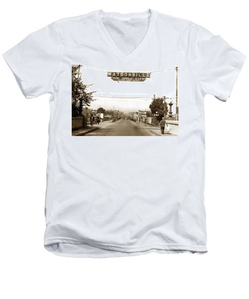 Watsonville California  The Apple City Circa 1926 Men's V-Neck T-Shirt by California Views Mr Pat Hathaway Archives