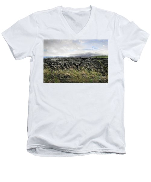 Men's V-Neck T-Shirt featuring the photograph Waves Of Clouds Sea Lava And Grass by Ellen Cotton