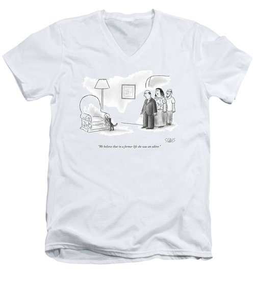 We Believe That In A Former Life She Was An Men's V-Neck T-Shirt