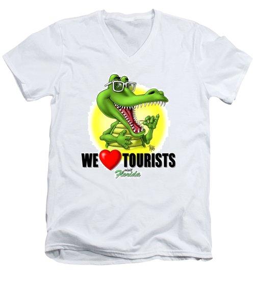 We Love Tourists Gator Men's V-Neck T-Shirt