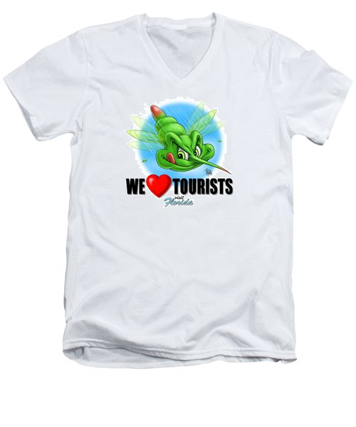 We Love Tourists Mosquito Men's V-Neck T-Shirt by Scott Ross