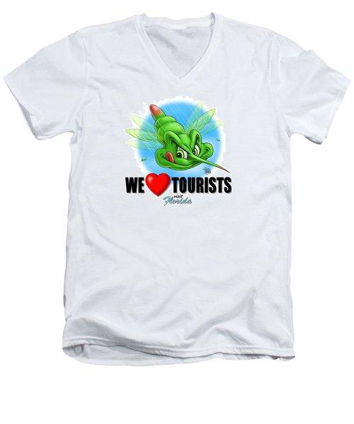 We Love Tourists Mosquito Men's V-Neck T-Shirt