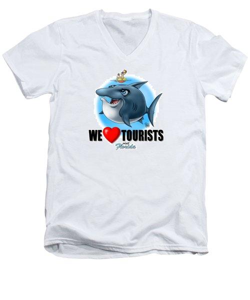 We Love Tourists Shark Men's V-Neck T-Shirt