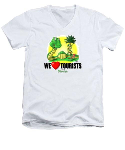 We Love Tourists Snake Men's V-Neck T-Shirt