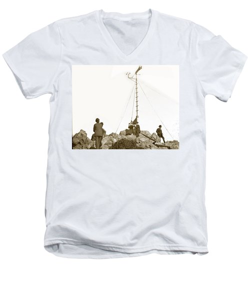 Men's V-Neck T-Shirt featuring the photograph Weather Station Mount Tamalpais Marin County California Circa 1902 by California Views Mr Pat Hathaway Archives