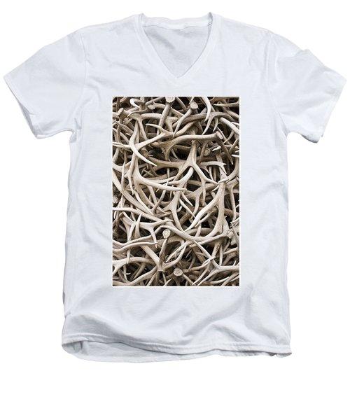 Weathered Elk Antlers Men's V-Neck T-Shirt