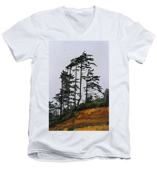 Weathered Fir Tree Above The Ocean Men's V-Neck T-Shirt by Tom Janca