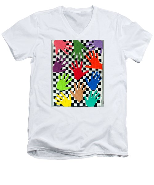 Weave #5 Hands On Men's V-Neck T-Shirt by Thomas Gronowski