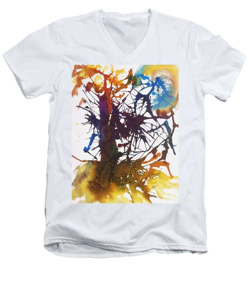Web Of Life Men's V-Neck T-Shirt by Ellen Levinson