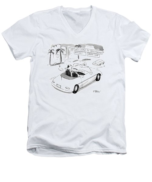 'welcome' To Hollywood 'net' Men's V-Neck T-Shirt